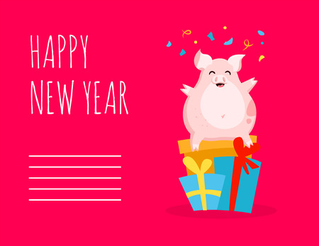 Happy New Year card with gifts and pig on red background. Flat style. Vector christmas card.