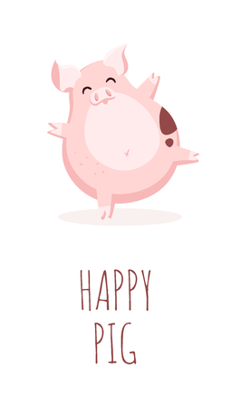 Happy cartoon pig on white background. Flat style. Vector card.