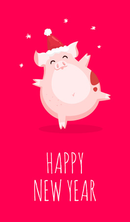 Happy New Year card with pig in christmas hat and snowflakes on red background. Flat style. Vector christmas card. Illustration
