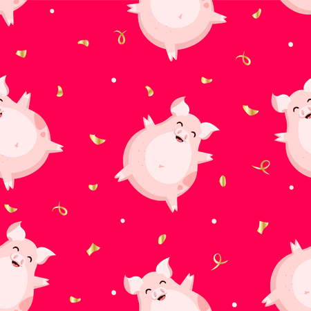 Animal pattern with fun pig  and golden confetti on red background. Flat style. Ornament for textile and wrapping. Vector.