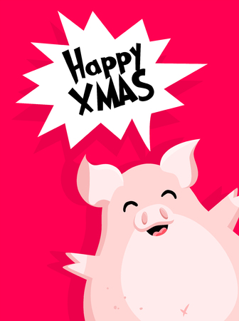 Christmas card with fun pig and text cloud on red background. Flat style. Vector.