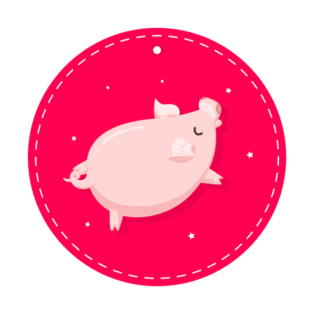 Sticker with cartoon pig in red circle. Flat style. Vector label.