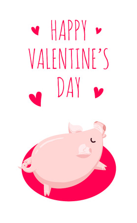 Happy Valentines Day card with pig and hearts on white background. Flat style. Vector card.