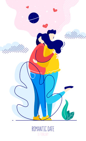 Cute illustration with a guy hugging a girl and graphic elements. Romantic card in trendy flat linear style. Vector.