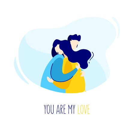 Illustration with a guy hugging a girl. Romantic card in trendy flat linear style. Vector.