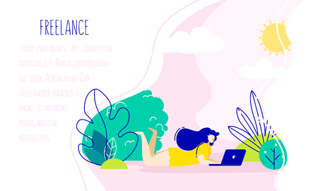 The girl with laptop in the park. Freelance illustration in trendy flat linear style. Vector background. Illustration