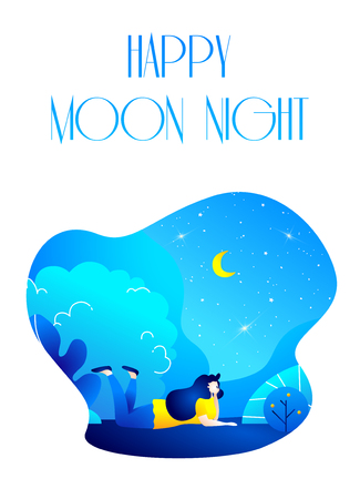 Dreaming girl in the park at night. Romantic illustration in trendy flat style. Vector.