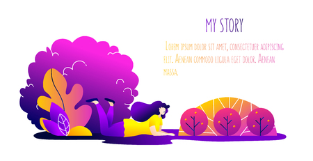 Illustration with dreaming girl in nature. Romantic card in trendy flat linear style. Vector banner.