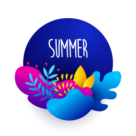 Summer illustration in flat style with text and plants in bright gradient colors. Vector sticker.