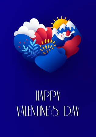 Happy Valentines Day card in paper style with plants, bird, envelope, mountains, clouds, sun and heart. Vector illustration in flat style and bright gradient colors. Ilustração