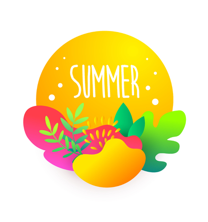 Summer card in flat style with text and tropical plants in bright gradient colors. Vector sticker.