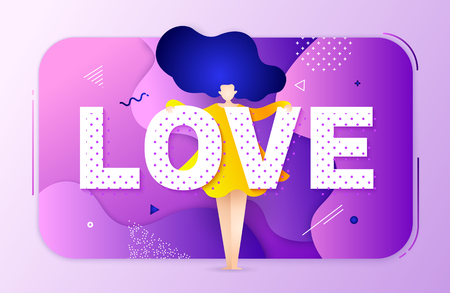 Cute illustration with girl, text love and graphic elements. Romantic card in trendy flat style and bright gradient colors. Vector banner.
