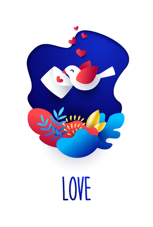 Saint Valentines Day card with pigeon, plants and envelope on blue background. Vector illustration in flat style and bright gradient colors.