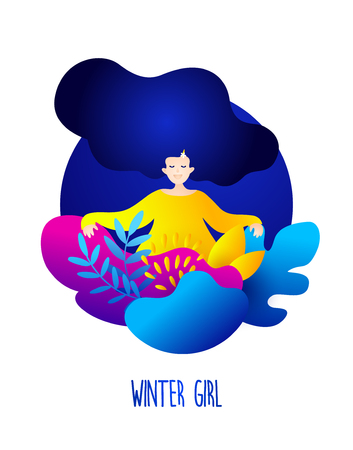 Cute card with winter girl and plants. Romantic illustration in trendy flat style. Vector illustration.