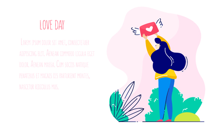 Girl in park catches the love envelope. Romantic card in trendy flat linear style. Vector holiday banner.