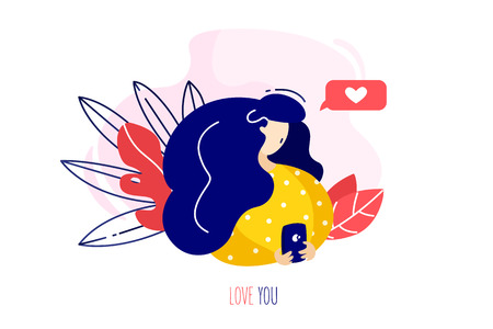 Girl with the phone writes a love message. Holiday card in trendy flat linear style. Vector banner. Ilustração