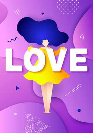 Cute illustration with funny girl, text love and graphic elements on purple background. Romantic card in trendy flat style and bright gradient colors. Vector.