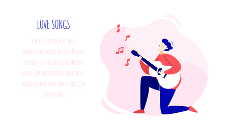 Illustration with guy playing the guitar, sheet music and text field. Romantic card in trendy flat linear style. Vector banner.