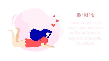 Illustration with dreaming girl,  hearts and text field. Romantic card in trendy flat linear style. Vector banner.