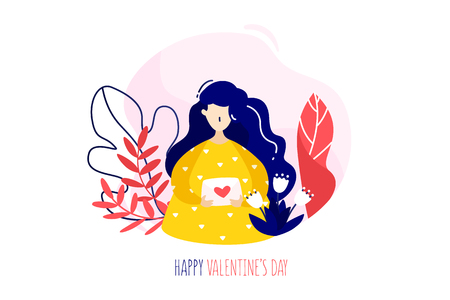 Girl with love letter, plants and flowers on white background. Holiday card in trendy flat linear style. Vector banner.