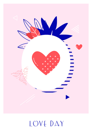 Romantic poster with pineapple, heart, plants and graphic elements on pink background. Love card in trendy flat linear style. Vector banner.