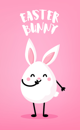 Ð¡artoon egg with rabbit ears on pink background. Cute easter card. Vector. Banco de Imagens - 124665835