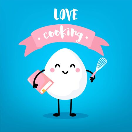 Ð¡artoon egg with book, mixer and pink ribbon on blue background. Cute vector card.