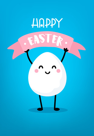 Cute cartoon egg with pink ribbon on blue background. Happy Easter card. Vector.