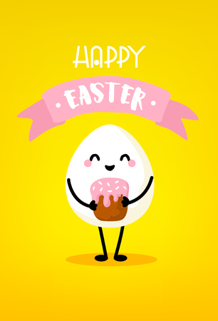 Cute cartoon egg with easter cake and ribbon on yellow background. Happy Easter card. Vector.