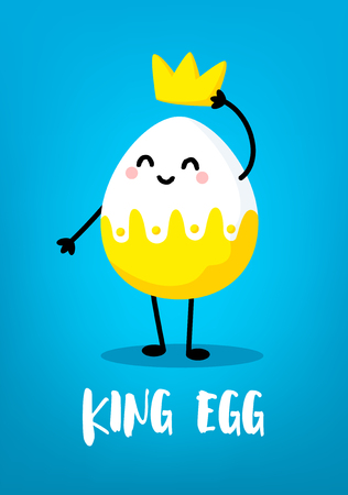 Cartoon king egg with crown on blue background. Cute easter card. Vector. Banco de Imagens - 124665839