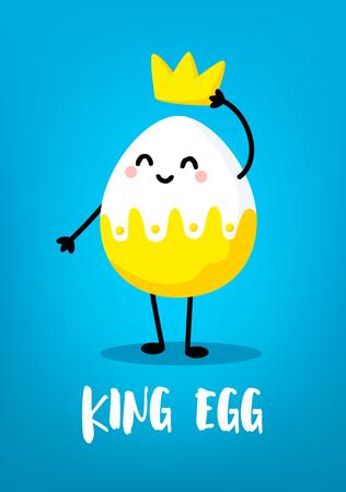 Cartoon king egg with crown on blue background. Cute easter card. Vector. Ilustração