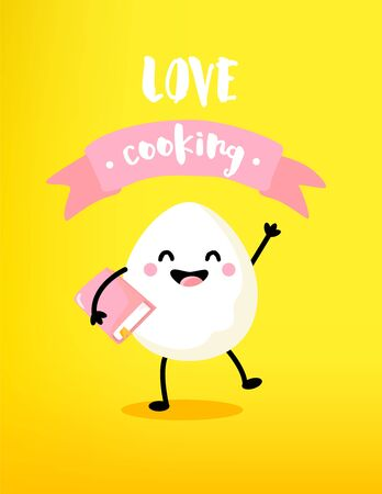 Ð¡artoon egg with book and pink ribbon on yellow background. Love cooking card. Vector. Ilustração