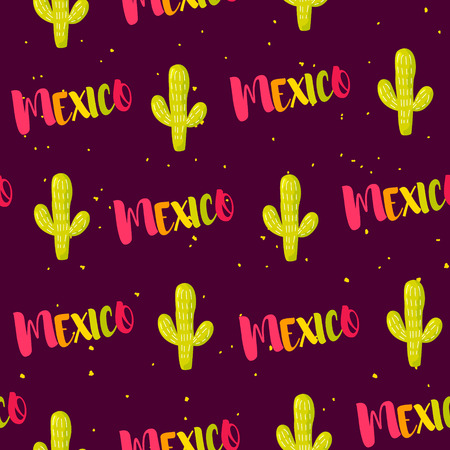 Seamless pattern with cactuses and colored text Mexico. Vector banner.