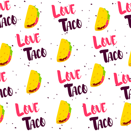 Seamless pattern with tacos and text on white background. Vector mexican banner.