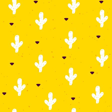 Seamless pattern with cactuses and graphical elements on yellow background. Vector mexican banner.