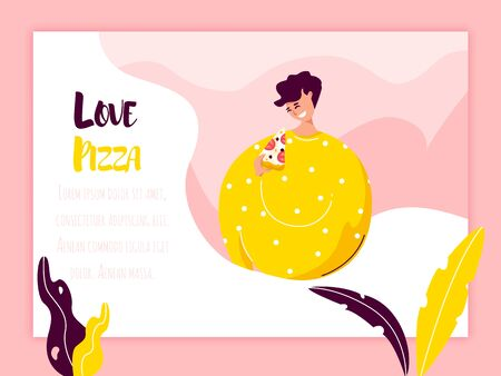 Young man eats pizza on color background with plants and frame. Vector fast food banner in flat linear style.