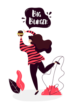 Cartoon girl with black burger walks in nature. Vector banner in flat linear style.