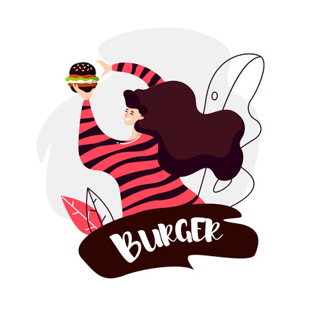 Cartoon girl with black burger and contour leaves on white background. Vector fast food banner in flat linear style. Ilustração