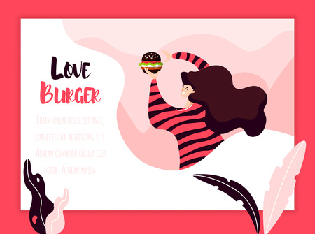 Young girl eats black burger on color background with plants and frame. Vector fast food banner in flat linear style. Banco de Imagens - 124245471