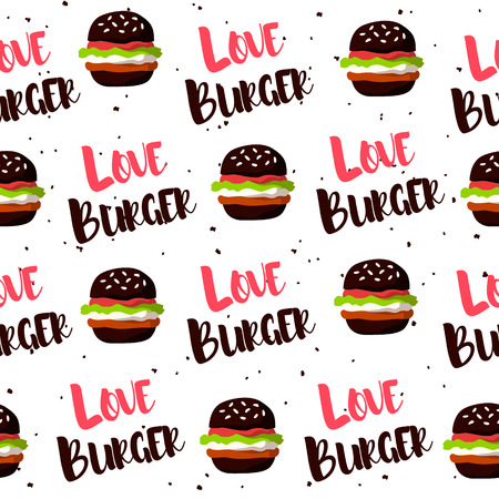 Seamless pattern with black burger and text on white background. Vector fast food banner. Ilustração