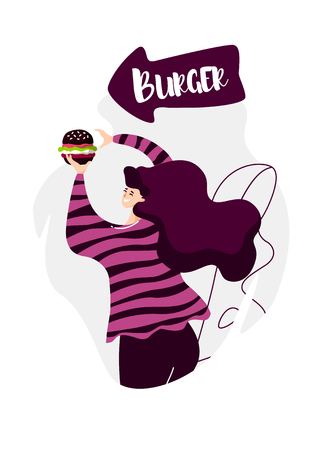 Cartoon girl with black burger and arrow points to the fast food cafe. Vector banner in flat linear style.
