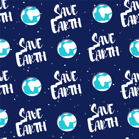 Seamless pattern with earth and text on dark background. Vector ecology banner.