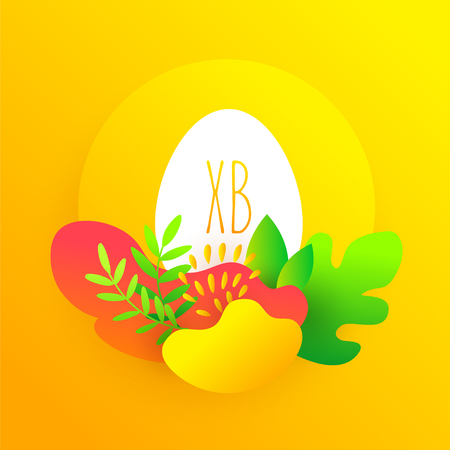 Happy Easter card in flat style with egg and tropical plants in bright gradient colors. Vector illustration. Ilustração