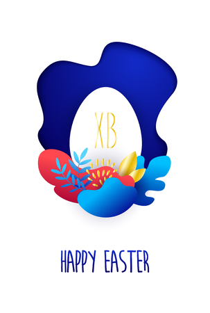 Happy Easter card in flat style with egg and tropical plants in bright gradient colors. Vector. Banco de Imagens - 124072809