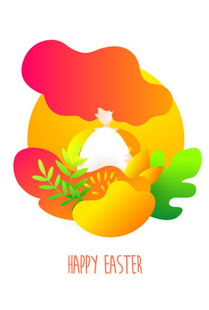Happy Easter card with cartoon girl, egg and tropical plants. Holiday illustration in trendy flat style. Vector.