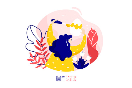 Girl with Easter egg, brush, plants and flowers on white background. Holiday card in trendy flat linear style. Vector banner. Banco de Imagens - 124072815