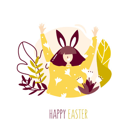 Girl with rabbit ears, plants and flowers on white background. Happy Easter card in trendy flat linear style. Vector banner. Ilustração