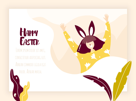 Cartoon girl with rabbit ears, plants and flowers in nature. Vector web page template. Holiday banner in flat linear style. Ilustração