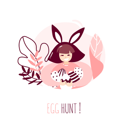 Cartoon girl with rabbit ears, plants and Easter eggs on white background. Happy Easter card in trendy flat linear style. Vector banner with text Egg hunt.