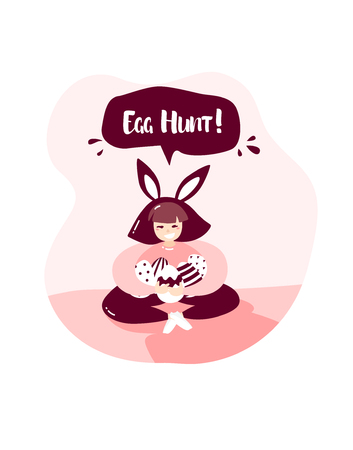 Cartoon girl with rabbit ears and Easter eggs in nature. Happy Easter card in trendy flat linear style. Vector banner with text Egg hunt. Banco de Imagens - 123604258
